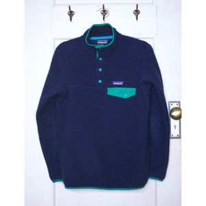 XS/S Patagonia Synchilla Snap-T (Navy Blue / Teal)
